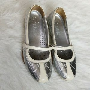 Cole Haan Nike Air silver and ivory flats